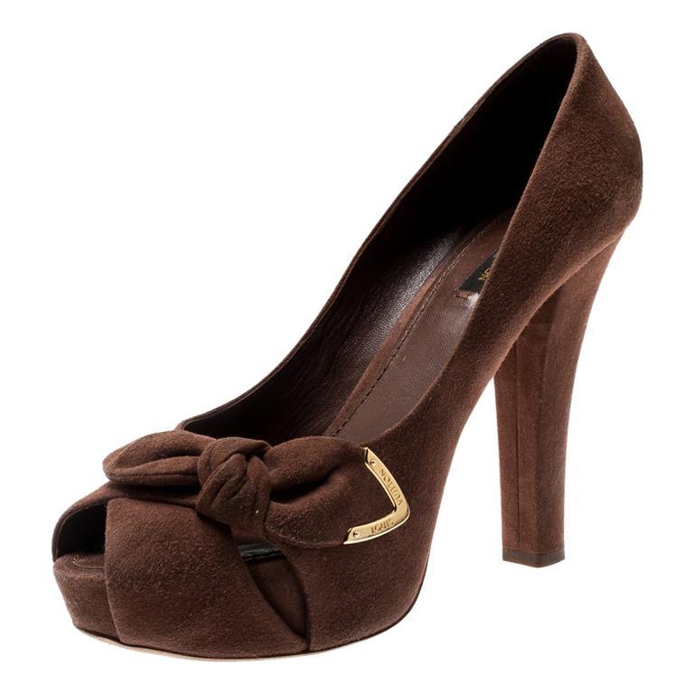 Louis Vuitton Brown Suede Catania Peep Toe Platform Pumps Size 40 For Sale