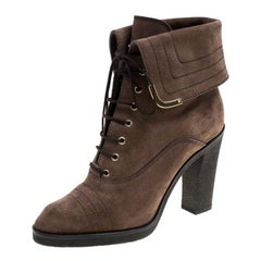 Louis Vuitton Brown Suede Lace Up Ankle Boots Size 38