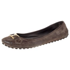 Louis Vuitton Brown Suede Leather Oxford Ballet Flats Size 38.5
