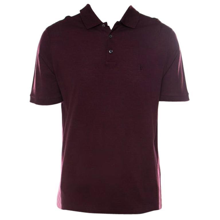 Louis Vuitton Burgundy Honeycomb Knit Cotton Logo Embroidered Polo T Shirt XL