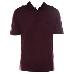 Louis Vuitton Burgundy Honeycomb Knit Cotton Logo Embroidered Polo T Shirt XL