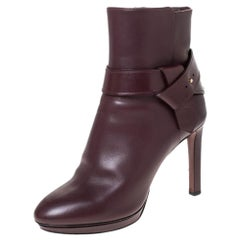 Louis Vuitton Burgundy Leather Belted Ankle Boots Size 41