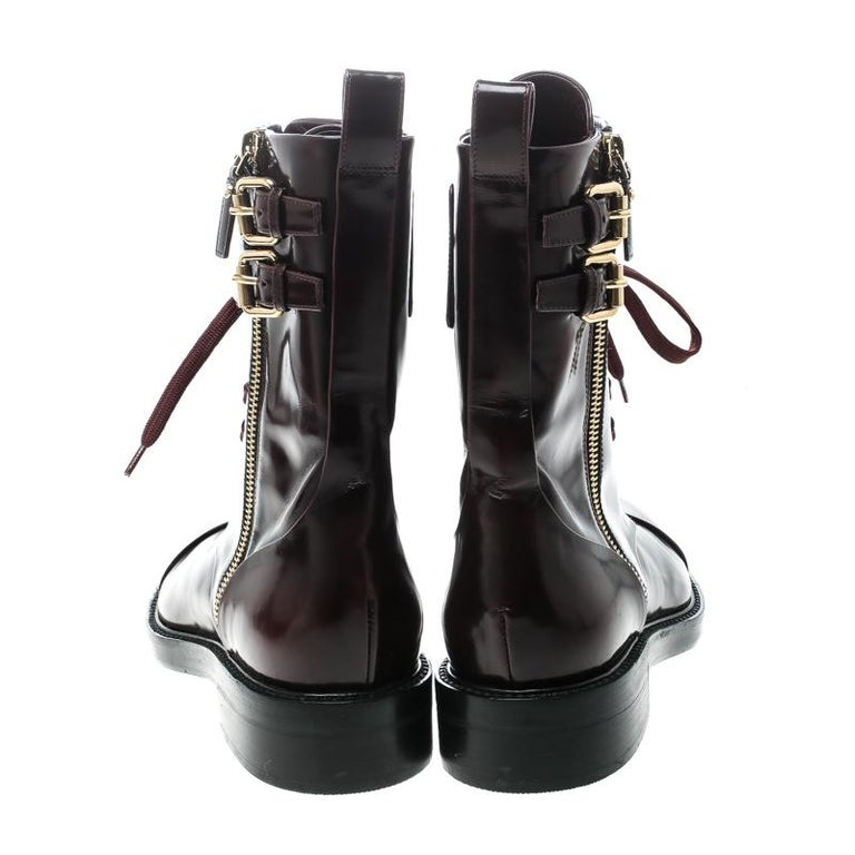 Black Louis Vuitton Burgundy Leather Like A Man Ranger Boots Size 37 For Sale