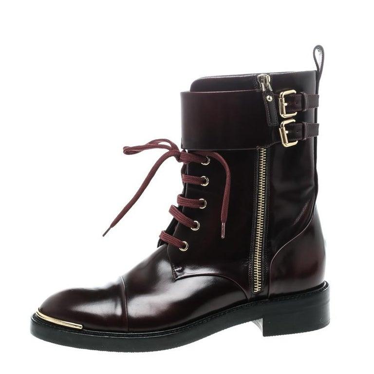 Louis Vuitton Burgundy Leather Like A Man Ranger Boots Size 37 In Good Condition For Sale In Dubai, Al Qouz 2