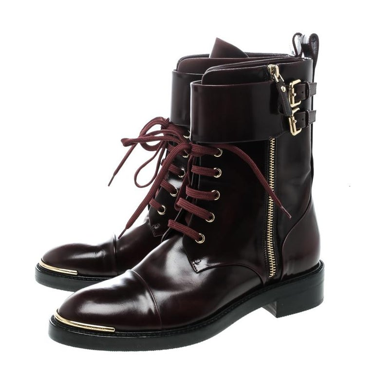 Women's Louis Vuitton Burgundy Leather Like A Man Ranger Boots Size 37 For Sale