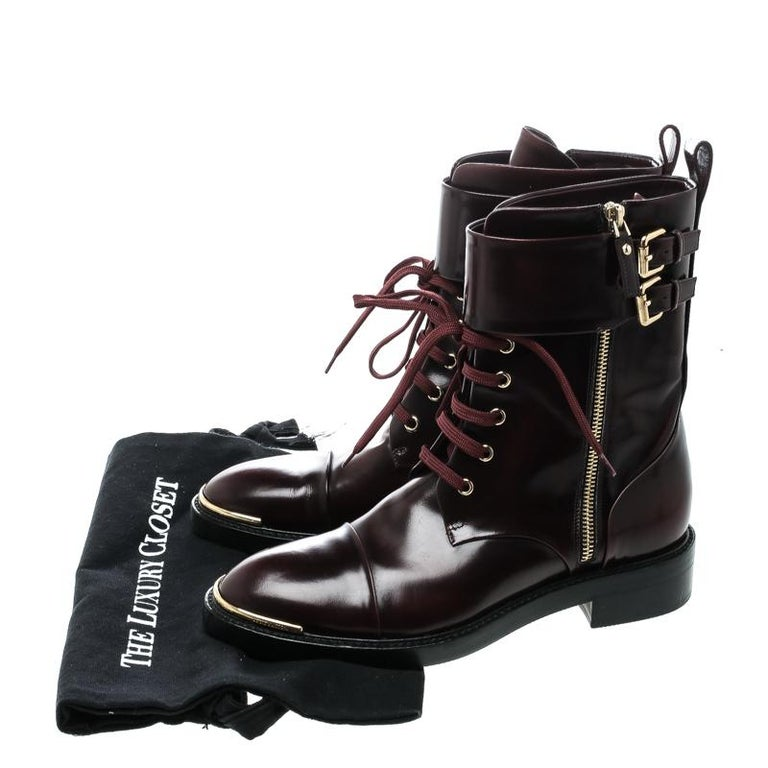 Louis Vuitton Burgundy Leather Like A Man Ranger Boots Size 37 For Sale 3