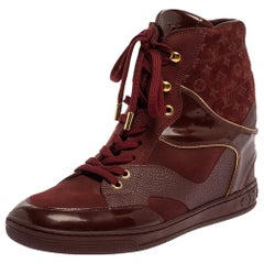 Louis Vuitton Burgundy Patent Leather and Suede Monogram Boots Size 39