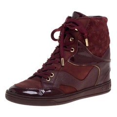 Louis Vuitton Burgundy Patent Leather and Suede Monogram Wedge Boots Size 37.5