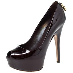 Louis Vuitton Burgundy Patent Leather Oh Really! Peep Toe Platform Pumps Size 35