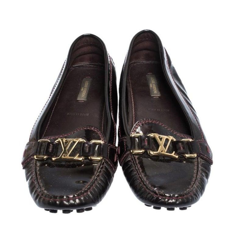 Black Louis Vuitton Burgundy Patent Leather Oxford Ballet Flats Size 39