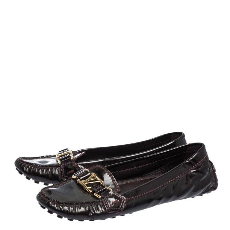 Women's Louis Vuitton Burgundy Patent Leather Oxford Ballet Flats Size 39