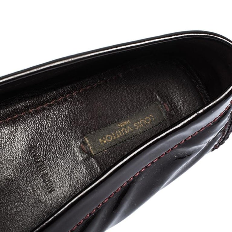 Louis Vuitton Burgundy Patent Leather Oxford Ballet Flats Size 39 1