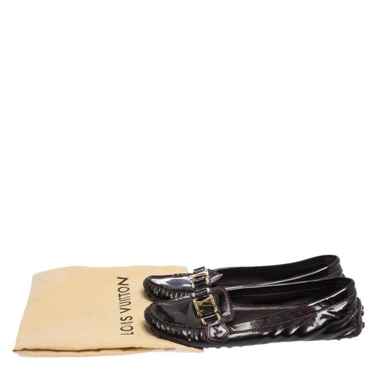 Louis Vuitton Burgundy Patent Leather Oxford Ballet Flats Size 39 3