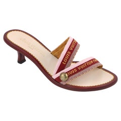 LOUIS VUITTON Burgundy Pink Logo Embroidered Strappy Slide Sandal Kitten Heels