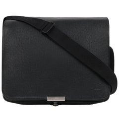 "LOUIS VUITTON c. 2002 ""Viktor"" Black Green Taiga Leather Messenger Bag"