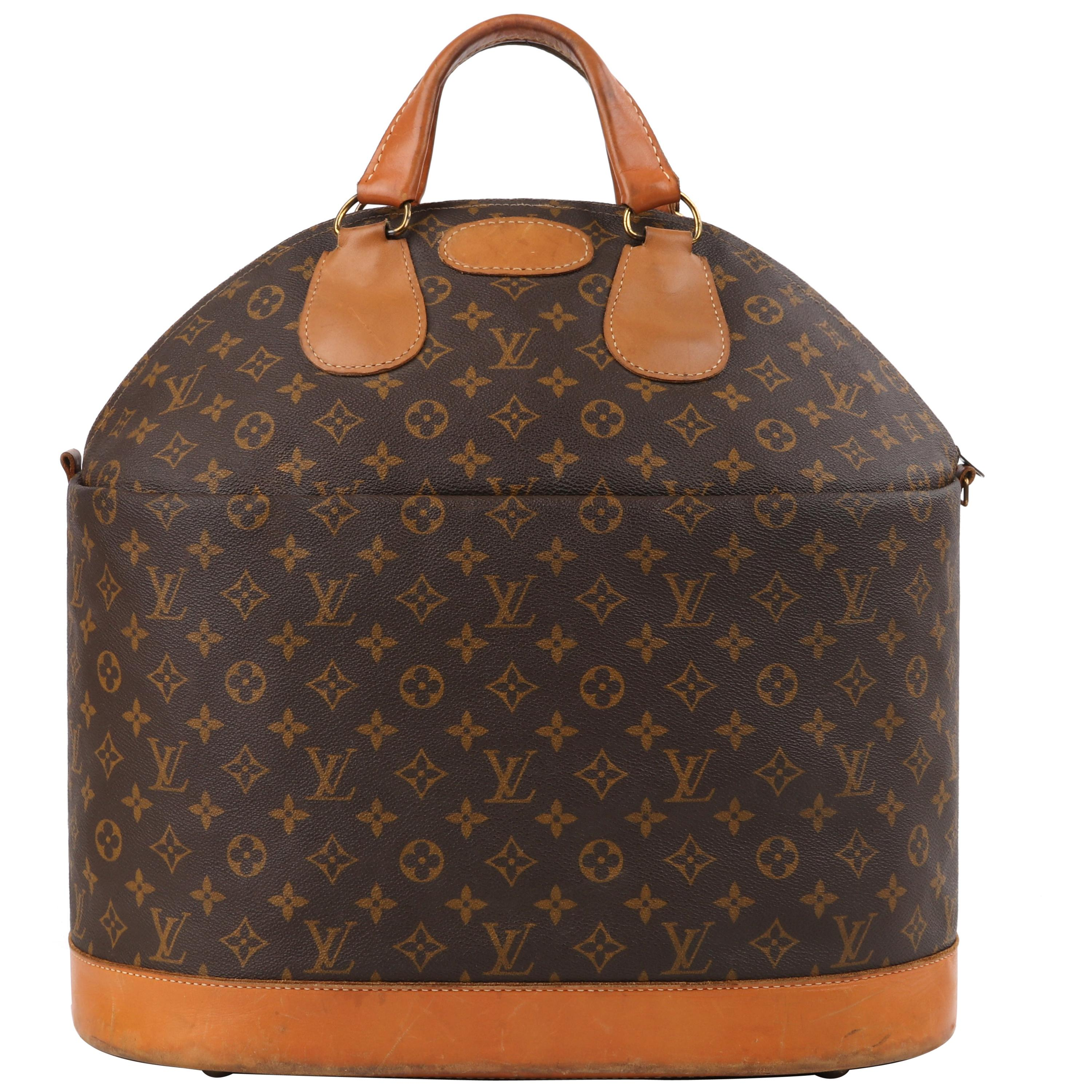 LOUIS VUITTON c.1970's LV Monogram Coated Canvas Top Handle Steamer Keepall Bag