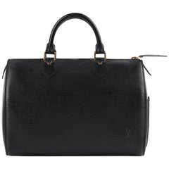 "LOUIS VUITTON c.1990's ""Speedy"" Black Epi Leather Dual Handle Zip Top Boston Bag"