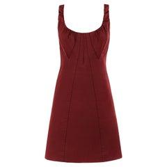 LOUIS VUITTON c.2000's Burgundy Red Avant Garde Sleeveless Bustier A-Line Dress