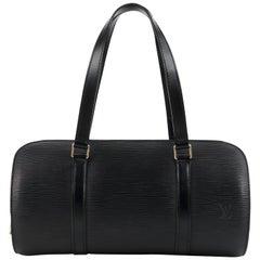 """LOUIS VUITTON C.2003 """"Soufflot"""" Black EPI Leather Oblong Handbag"""