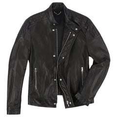 LOUIS VUITTON c.2011 Black Damier Quilted Leather Moto Biker Jacket
