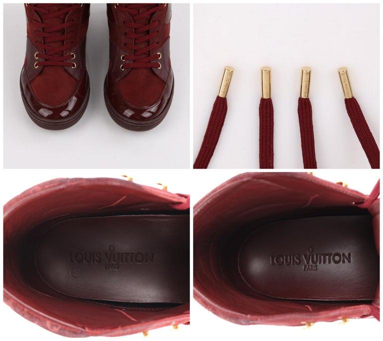 LOUIS VUITTON c.2014 Burgundy Bordeaux Monogram Suede Cliff Top Wedge Sneakers For Sale 5