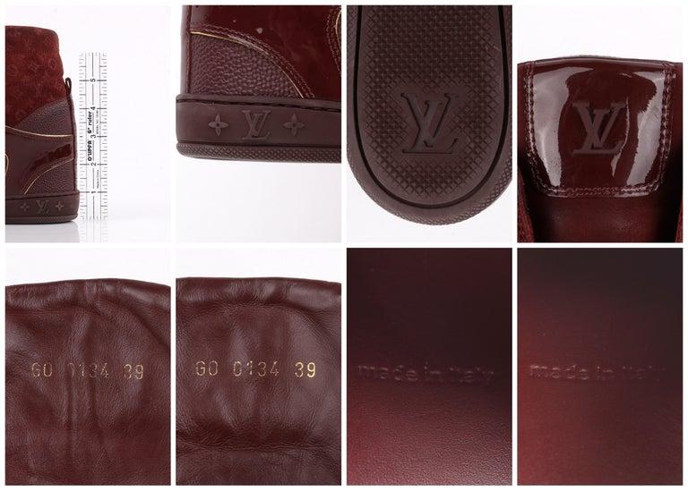 LOUIS VUITTON c.2014 Burgundy Bordeaux Monogram Suede Cliff Top Wedge Sneakers For Sale 6