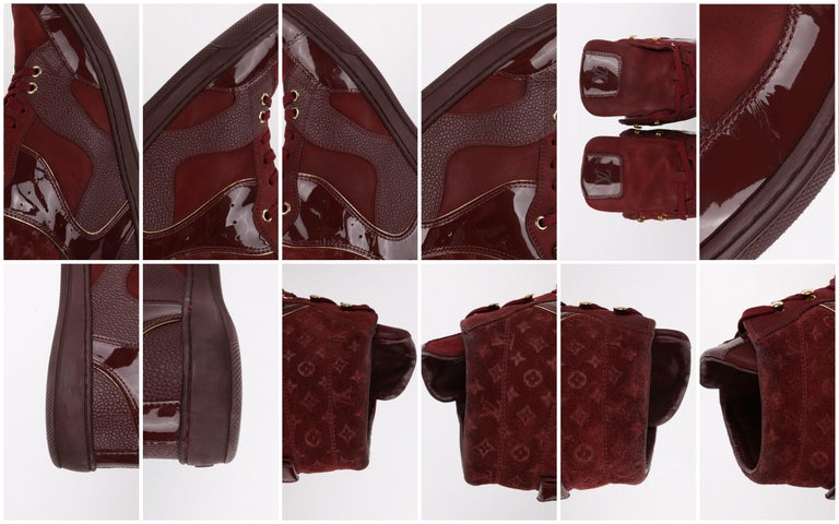 LOUIS VUITTON c.2014 Burgundy Bordeaux Monogram Suede Cliff Top Wedge Sneakers For Sale 7