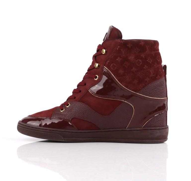 Brown LOUIS VUITTON c.2014 Burgundy Bordeaux Monogram Suede Cliff Top Wedge Sneakers For Sale