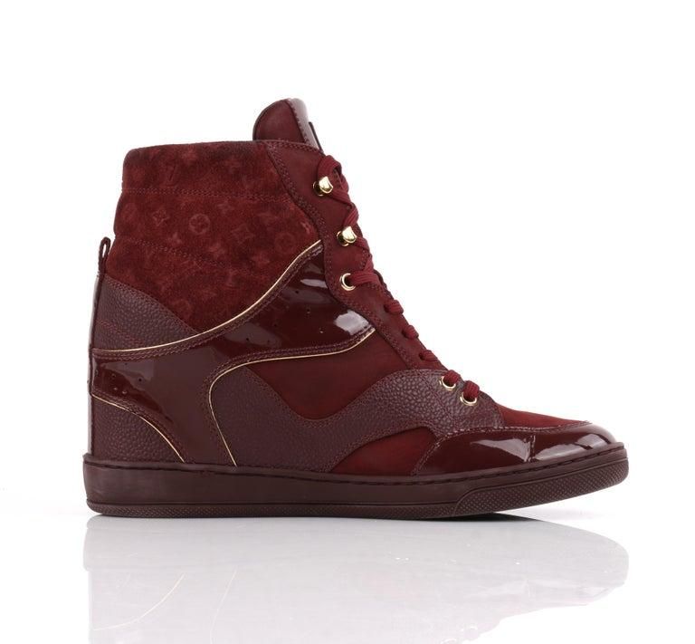 Women's LOUIS VUITTON c.2014 Burgundy Bordeaux Monogram Suede Cliff Top Wedge Sneakers For Sale