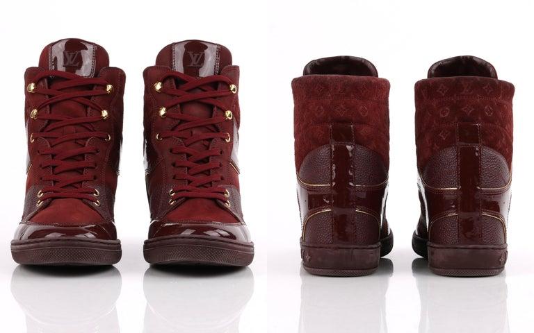 LOUIS VUITTON c.2014 Burgundy Bordeaux Monogram Suede Cliff Top Wedge Sneakers For Sale 2