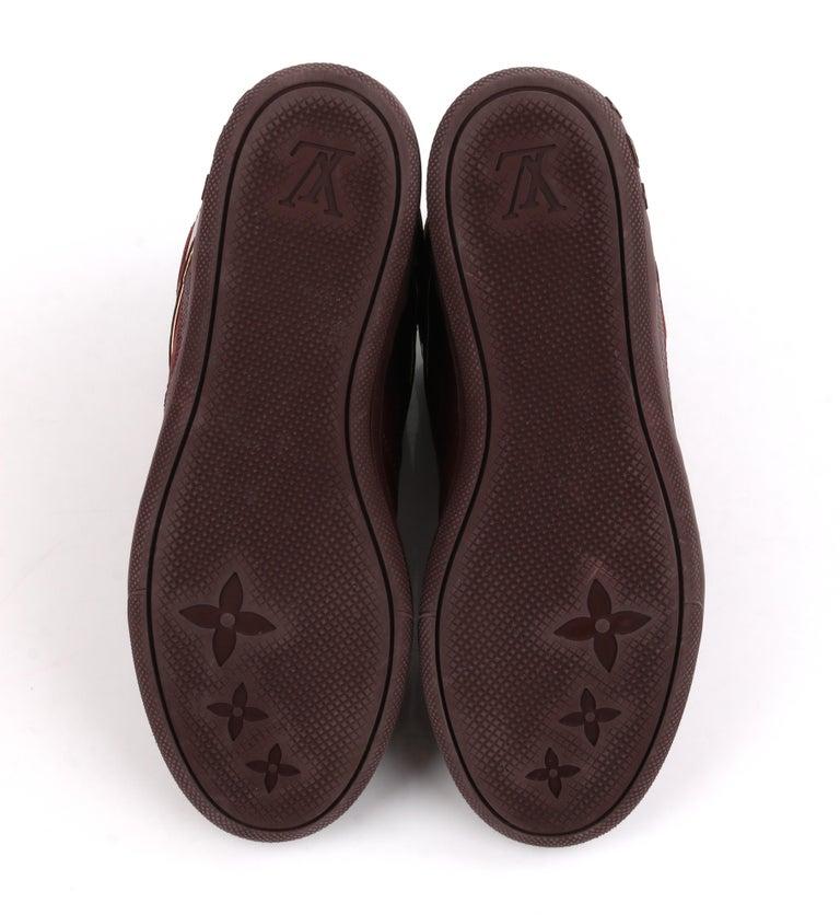 LOUIS VUITTON c.2014 Burgundy Bordeaux Monogram Suede Cliff Top Wedge Sneakers For Sale 3