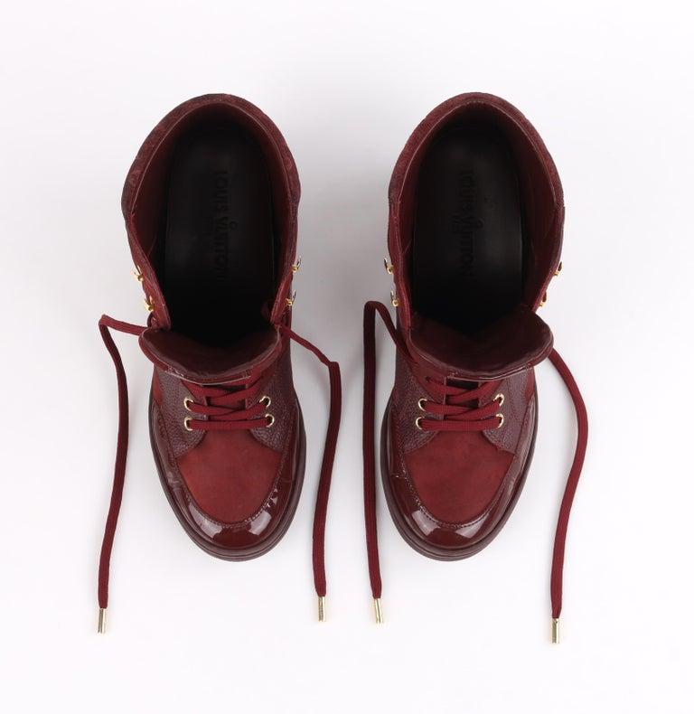LOUIS VUITTON c.2014 Burgundy Bordeaux Monogram Suede Cliff Top Wedge Sneakers For Sale 4