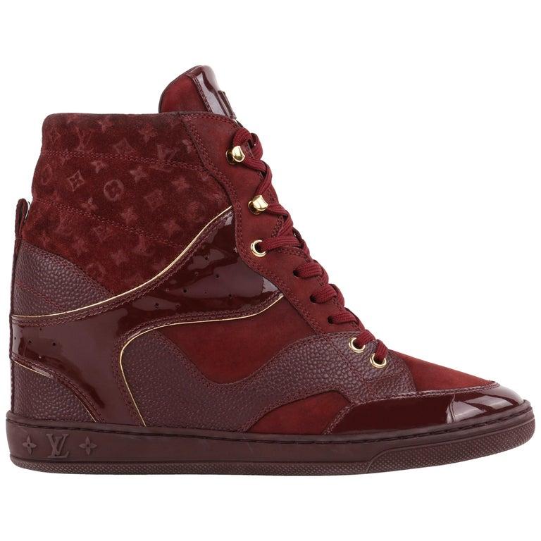 LOUIS VUITTON c.2014 Burgundy Bordeaux Monogram Suede Cliff Top Wedge Sneakers For Sale