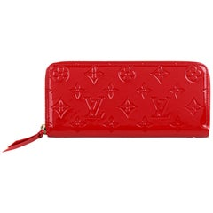 "LOUIS VUITTON c.2015 ""Clemence"" Red Monogram Vernis Patent Leather Zippy Wallet"