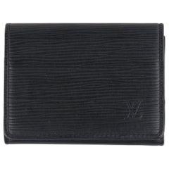 LOUIS VUITTON c.2017 Black Epi Leather Envelope Business Card Holder Snap Wallet
