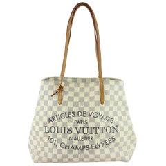 Louis Vuitton Cabas Damier Azur Adventure 227782 White Coated Canvas Tote