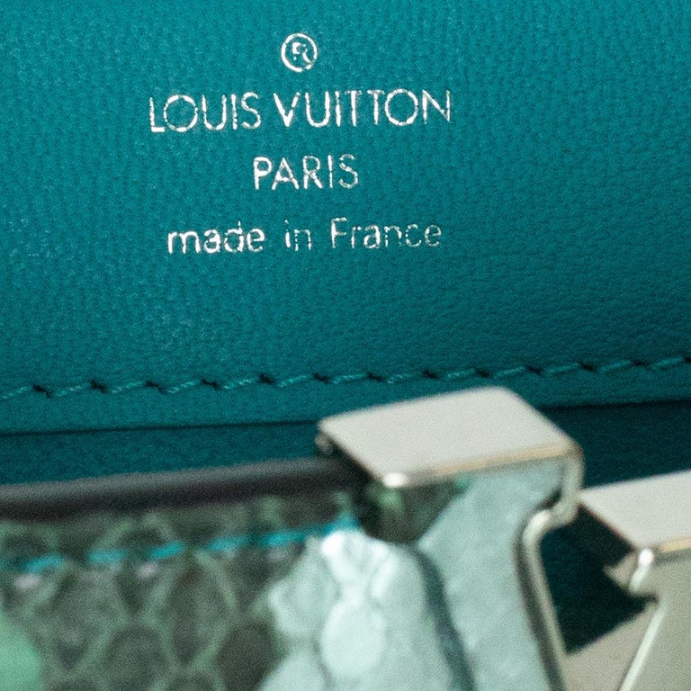 Louis Vuitton, Capucines in green python For Sale 1