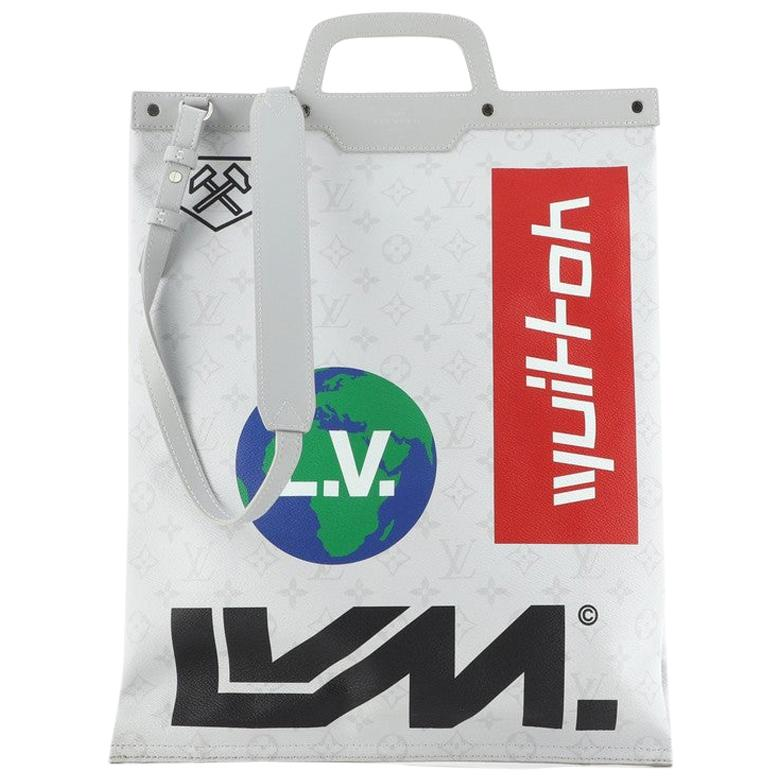 Louis Vuitton Chalk Flat Tote Bag Limited Edition Logo Story Monogram Can