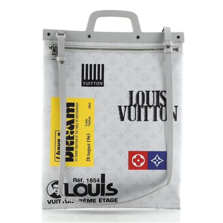 Louis Vuitton Chalk Flat Tote Bag Limited Edition Logo Story Monogram Canvas In Good Condition For Sale In New York, NY