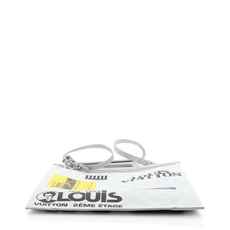 Women's or Men's Louis Vuitton Chalk Flat Tote Bag Limited Edition Logo Story Monogram Canvas For Sale