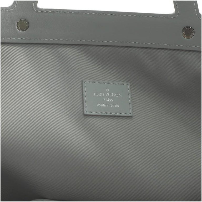 Louis Vuitton Chalk Flat Tote Bag Limited Edition Logo Story Monogram Canvas For Sale 2