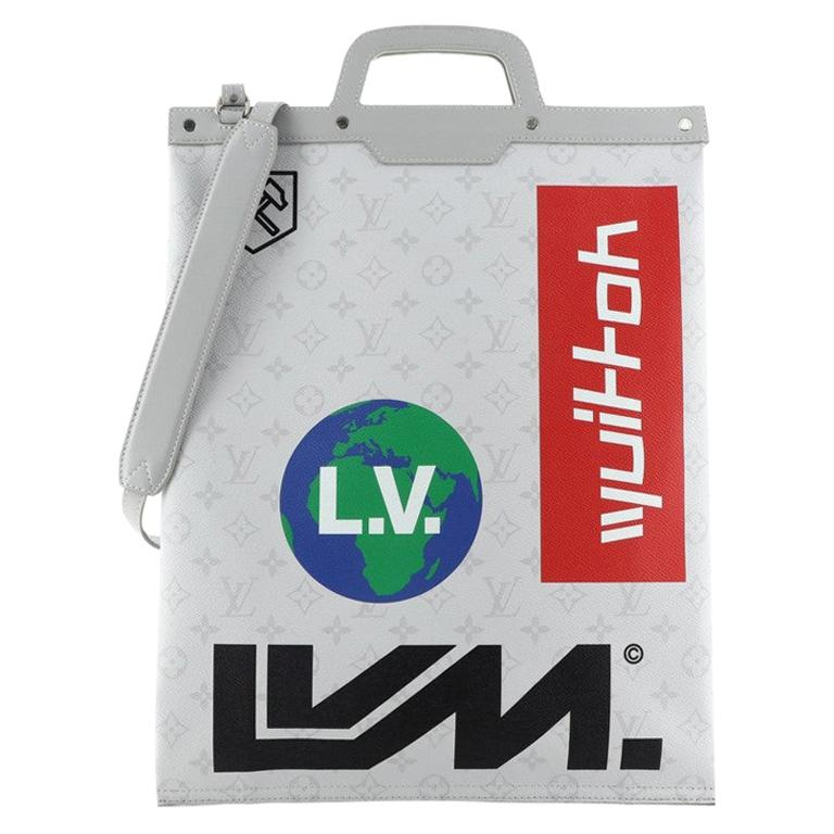 Louis Vuitton Chalk Flat Tote Bag Limited Edition Logo Story Monogram Canvas For Sale