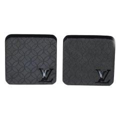 """Louis Vuitton """"Champs-Elysées"""" Black Coated Metal Cufflinks"""