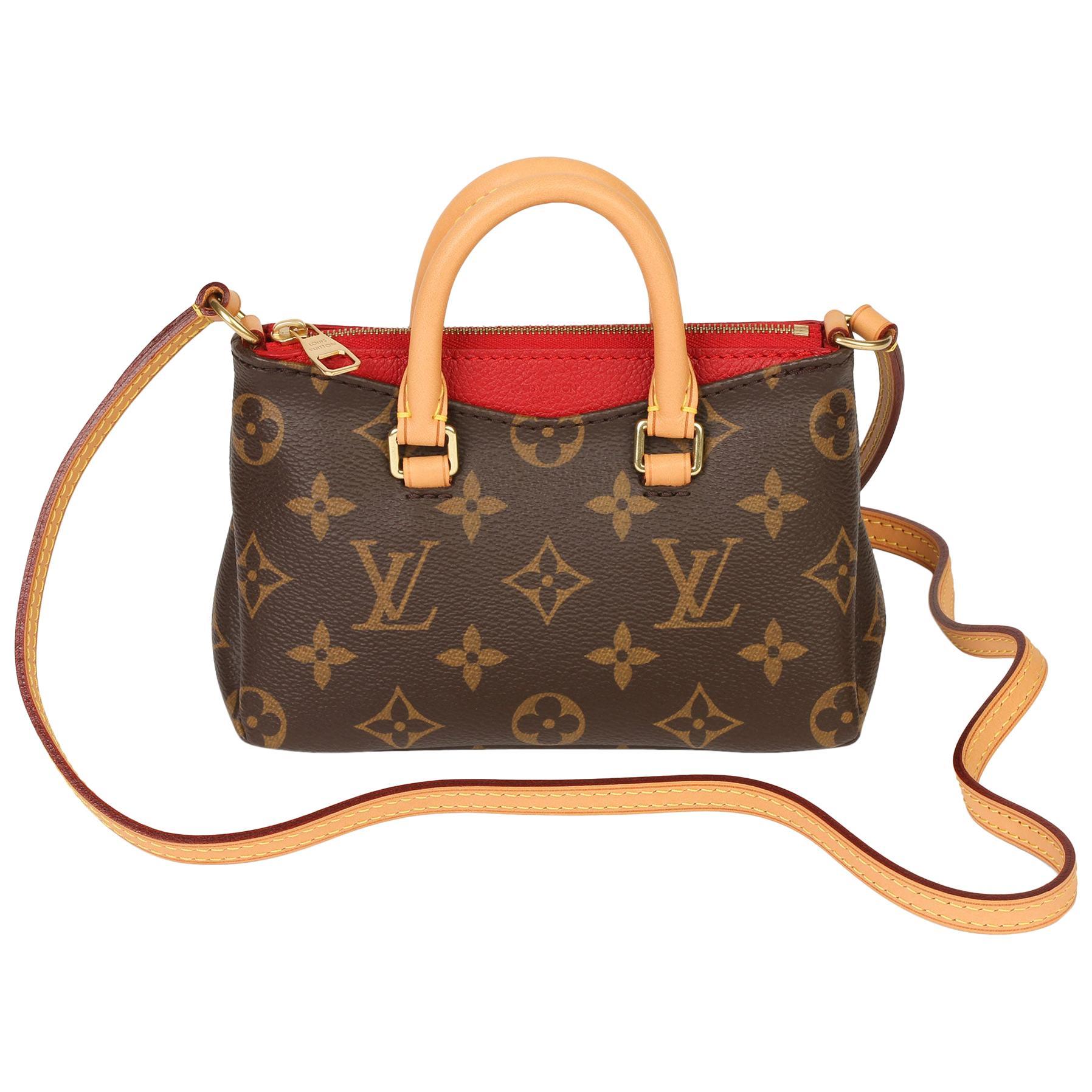 Louis Vuitton Cherry Brown Monogram Coated Canvas & Vachetta Leather Nano Pallas