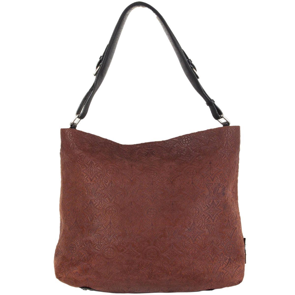 LOUIS VUITTON Chocolate brown leather MONOGRAM ANTHEIA PM HOBO Shoulder Bag