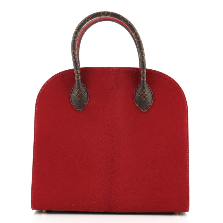 Black Louis Vuitton Christian Louboutin Shopping Bag Calf Hair and Monogram Canvas For Sale