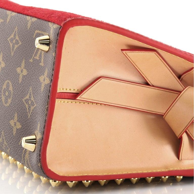 Louis Vuitton Christian Louboutin Shopping Bag Calf Hair and Monogram Canvas For Sale 1