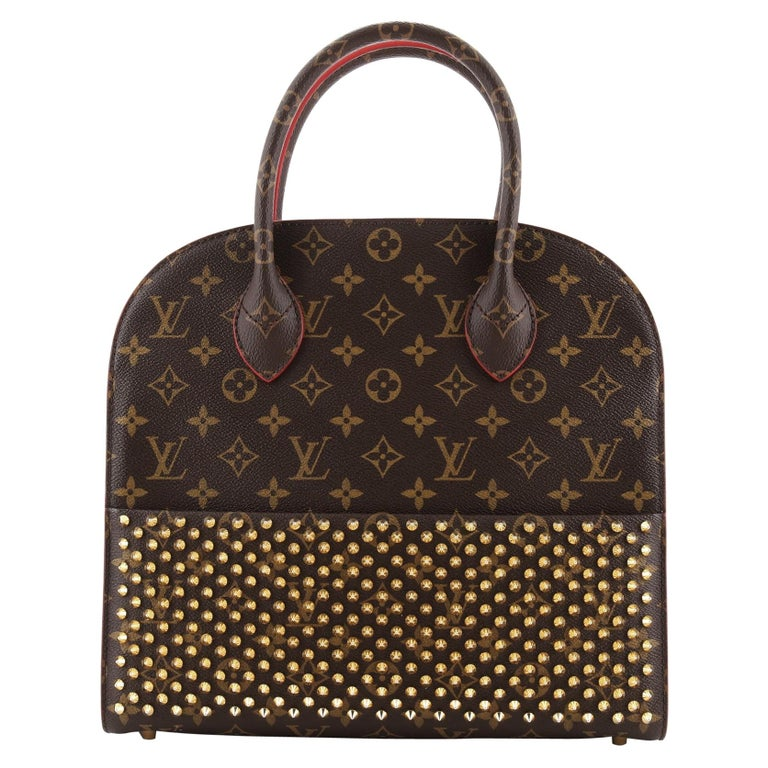 Louis Vuitton Christian Louboutin Shopping Bag Calf Hair and Monogram Canvas For Sale