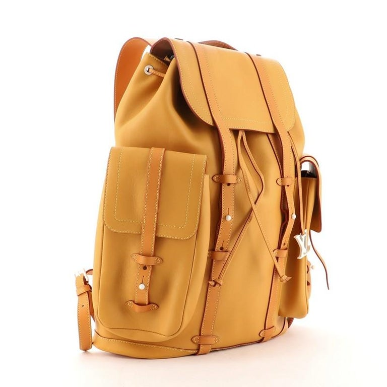 Orange Louis Vuitton Christopher Backpack Vachetta Leather GM For Sale