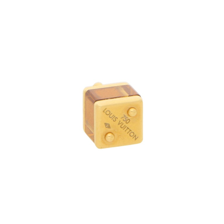 A beautiful Louis Vuitton citrine box charm set in 18k yellow gold.   The charm is designed as a citrine cube within yellow gold borders, fitted to the top with a fancy fixed bail.   Due to the size of the charm it could wasily be worn around the